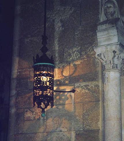A lantern burns bright just inside Jaffa Gate.  Photo by Dr. Leora Leeder.