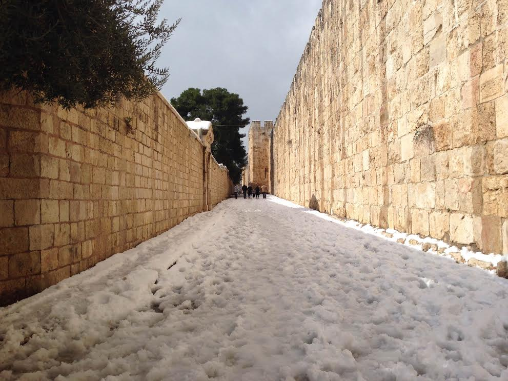 The streets of Jerusalem, lined with snow. Photo by Sammy Raskas