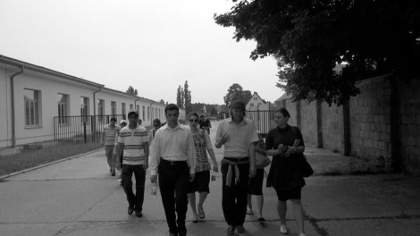 Walking with Stephan in Sachsenhausen.