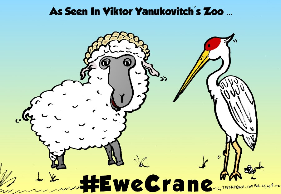ukraine ewe crane political comic from feb. 25, 2014 by Yasha Harari