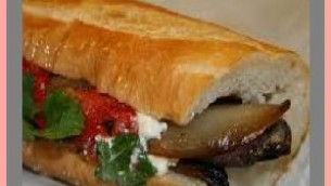 Eggplant Sandwiches on Baguette with Feta Cheese
