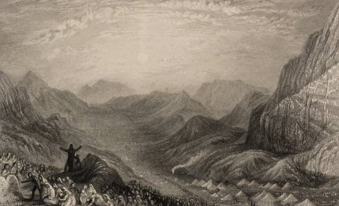 "Encampment of Israelites 1836, Mount Sinai, as in Numbers 33:15, intaglio print from ""Landscape illustrations of the Bible"" by Joseph Mallord William Turner (1775-1851)."