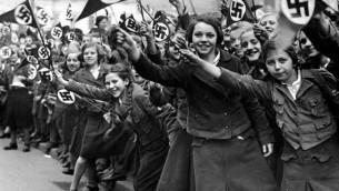German Girls cheering for Hitler