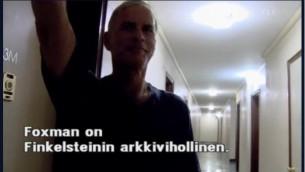 Norman Finkelstein demonstrating the Nazi salute for a Danish documentary