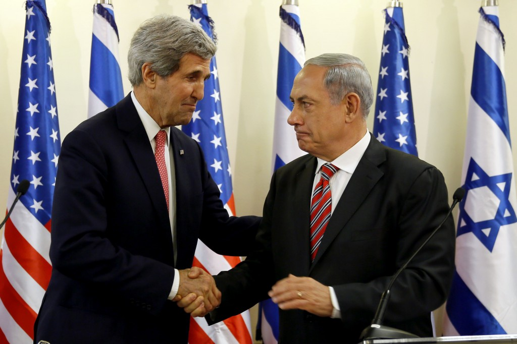 Israeli Prime Minister Benjamin Netanyahu and U.S. Secretary of State John Kerry hold a joint press conference on Dec. 5, 2013 in Jerusalem, Israel. (Gali Tibbon, Pool/ Getty Images)