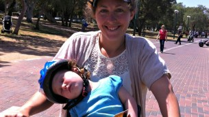 My baby and I biking in Park  Hayarkon, Tel Aviv.