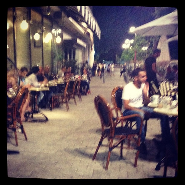 A cafe in Tel Aviv. At 1:30 in the morning.