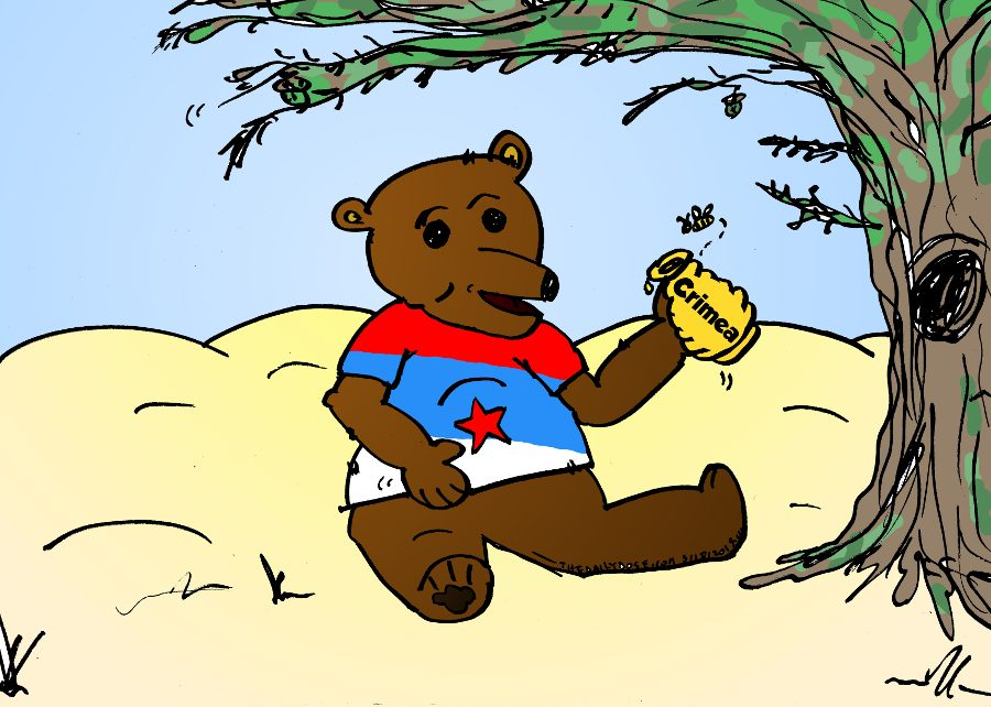 russian bear eats crimean honey from the hive cartoon, march 18, 2014 via the daily dose