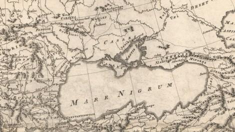 Black Sea, showing Khazar presence in Crimea and coastal regions: Rigobert Bonne, Imperii Romani Distracta. Pars Orientalis, (Paris, 1780). Note Ukraine and Kiev at upper left. At right: Caspian Sea, also labeled, as was the custom, as the Khazar Sea
