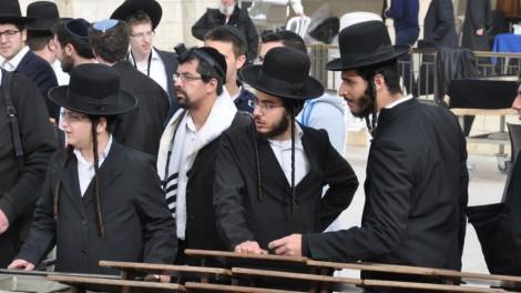 In the men's section at the Kotel, Rosh Hodesh Adar