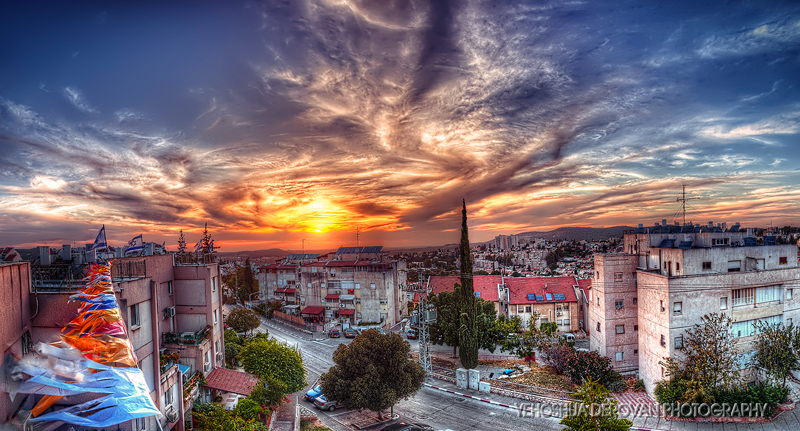From a rooftop overlooking Beit Shemesh at sunset. Photo by Yehoshua Derovan.