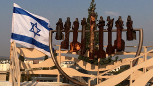 Menorah crafted from Quassam rockets fired at the city of Sderot. Weapons of destruction turned to symbols of hope. Photo credit: Jordana Lebowitz
