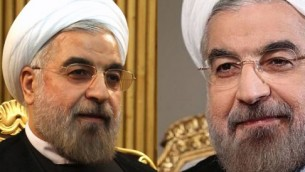 Iranian President Hassan Rouhani surrounded by gold. Really. We're not photoshopping this. That's how they sit.