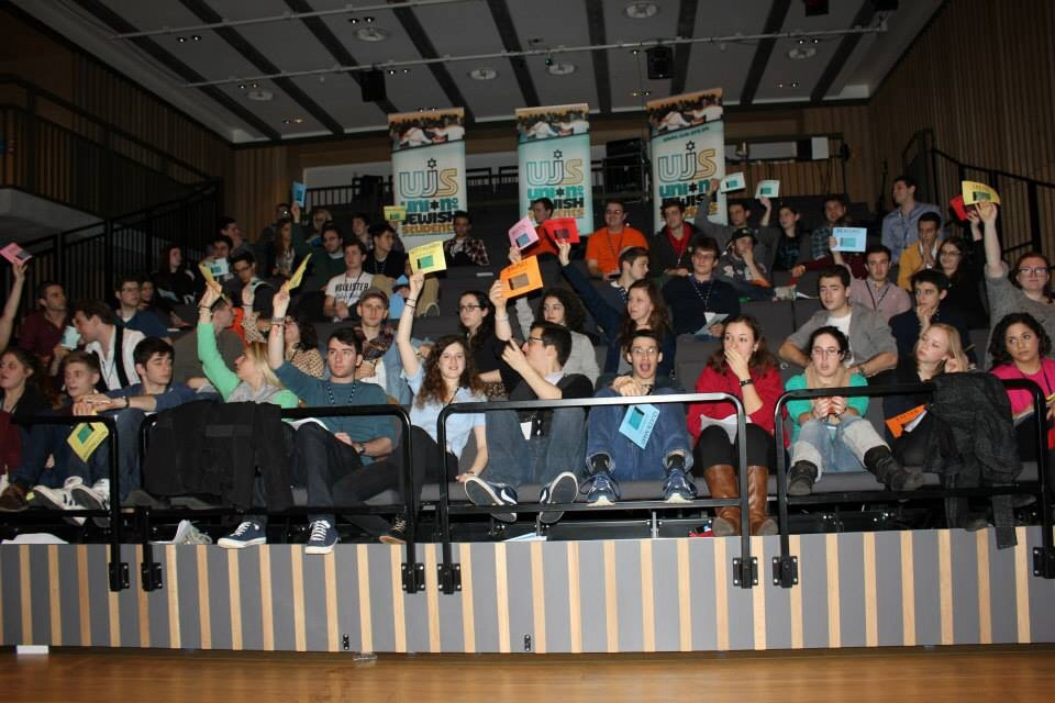 A radical minority of students want Jewish societies to dissociate from Israel. They must not prevail. Above: delegates vote at the 2013 UJS National Conference