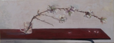 """Almond Branch in Tea Cup"" 2014 oil on linen 90 x 35 cm by Heddy Abramowitz"
