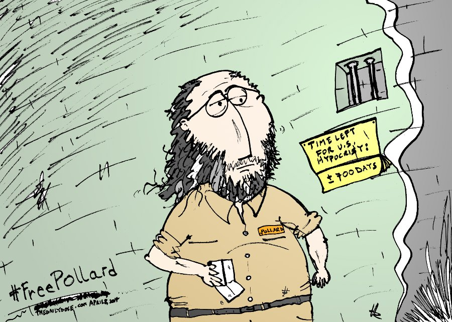 time left in prison for jonathan pollard caricature by yasha harari