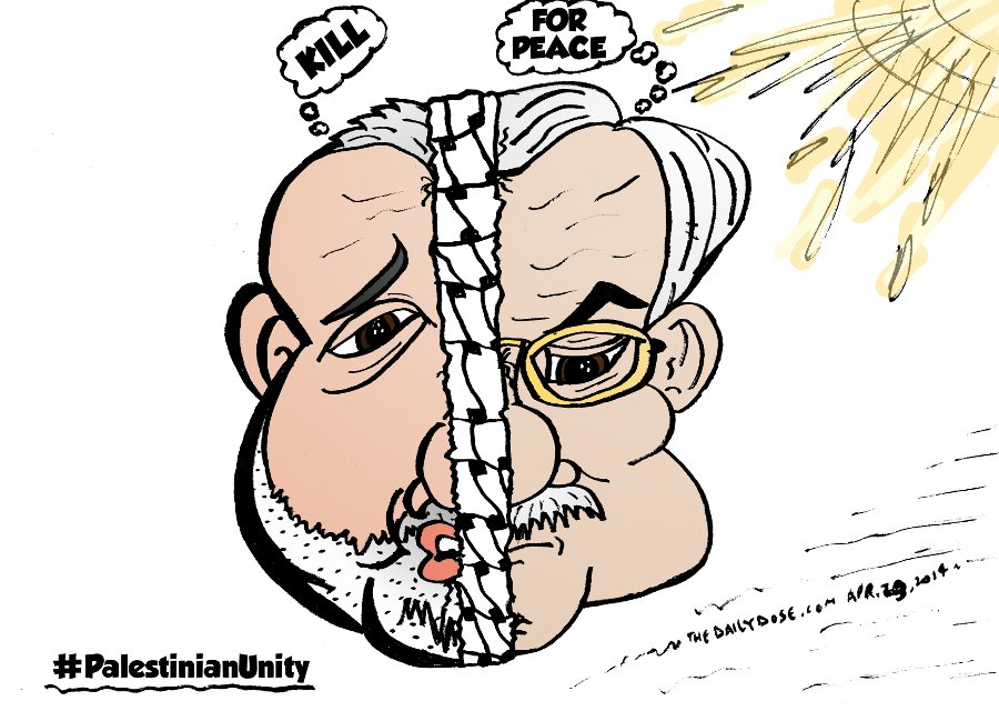 Hanniyeh and Abbas op-ed cartoon from april 29, 2014