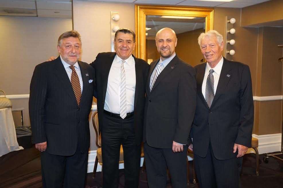 From L-Eugene Levin, President of Panorama Media Group, Haim Saban, Pastor Robert Stearns, Fred Bess, Ludmila Bess' husband -Photo Orly Halevy