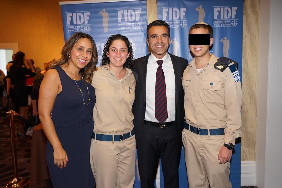 From L-Malissa Etehad, Corporal Aviva, FIDF Western Region Vice President Simon Etehad, Second Lieutenant Elnatan-Photo Orly Halevy