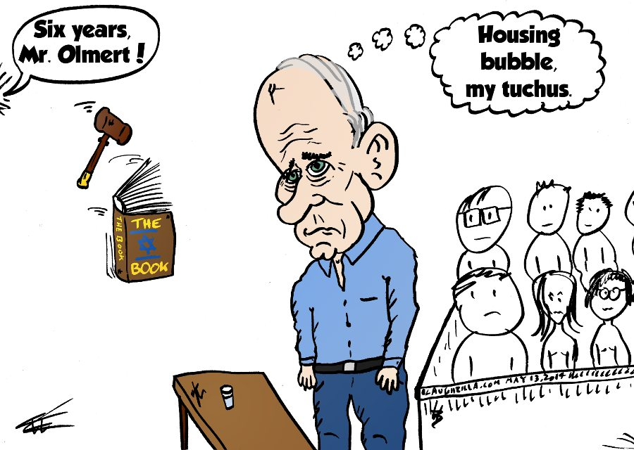 ehud olmert sentencing caricature from may 13 2014 by laughzilla