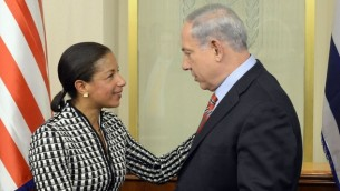 Prime Minister Benjamin Netanyahu meets with Susan Rice, United States National Security Advisor, at PM Netanyahu's office in Jerusalem on May 07, 2014.  (Photo credit: Matty Stern/US Embassy TLV/FLASH90)
