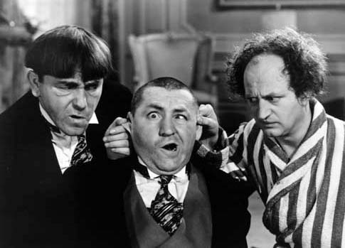 """Publicity photo from the Three Stooges short  """"Healthy, Wealthy and Dumb."""" Copyright Columbia Pictures, 1938. Used to illustrate film being described. (Via Wikipedia)"""