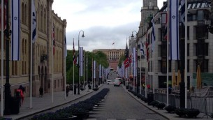A historical picture: Oslo's parade street decorated with Israeli flags.