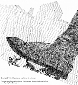 """Drawing by Vivien Mildenberger. Reproduced with permission from """"Running from Giants: The Holocaust Through the Eyes of a Child."""""""