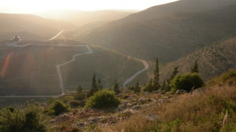 View to the North West. Tel Shiloh, with its new visitor center, is at the left