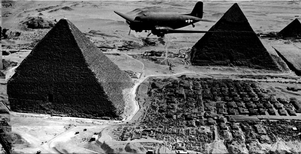 A U.S. Army transport plane flies over the pyramids in Egypt in 1943. (Keystone/Getty Images)