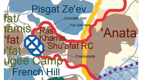 Map from B'Tselem's 2011 map of West Bank. Captions added. Downloaded from http://www.btselem.org/separation_barrier/jerusalem