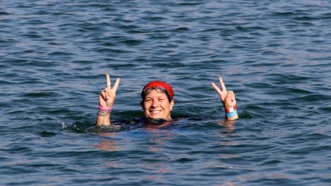 One of the swimmers stopped to pose for a pic. Photo credit: Laura Ben-David
