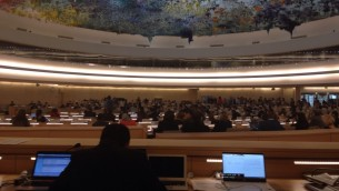 The assembly hall of the UN HRC during Rachelles speech.