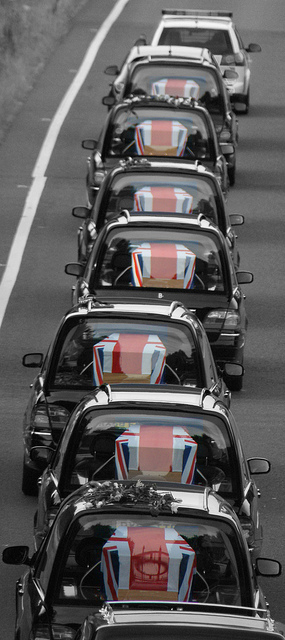 A Photo taken from the Highworth Bridge over the A420 at Shrivenham, this photo shows the Seven Service Men Who Returned Home To the United Kingdom on 29th June 2010
