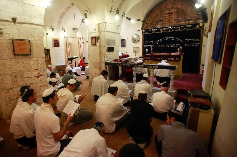 Karaites Pray at the Karaite Synagogue in Jerusalem