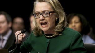 Former US secretary of state Hillary Clinton testifies about the Benghazi attack, on Capitol Hill, January 23, 2013 (AP/Pablo Martinez Monsivais)