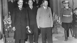 Prime Minister Chamberlain flies to Germany to 'negotiate' with the Führer, hat in hand...