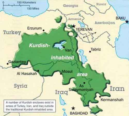 Largely Ethnic Kurdish Region
