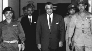 Nasser with King Hussein of Jordan and Egyptian Chief of Staff General Amer.  Scapegoated for the defeat, Amer will eventually commit suicide in rather mysterious circumstances...