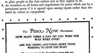 Peace Now Movement Flyer 1944
