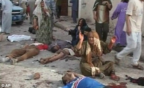 Aftermath of suicide bombing in Iraq