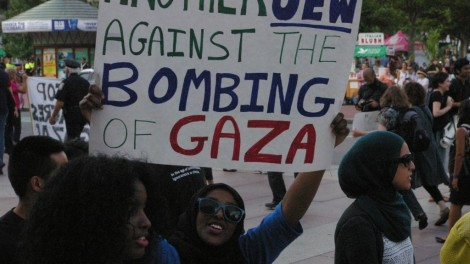 A protester at a rally organized by Jewish Voice for Peace.