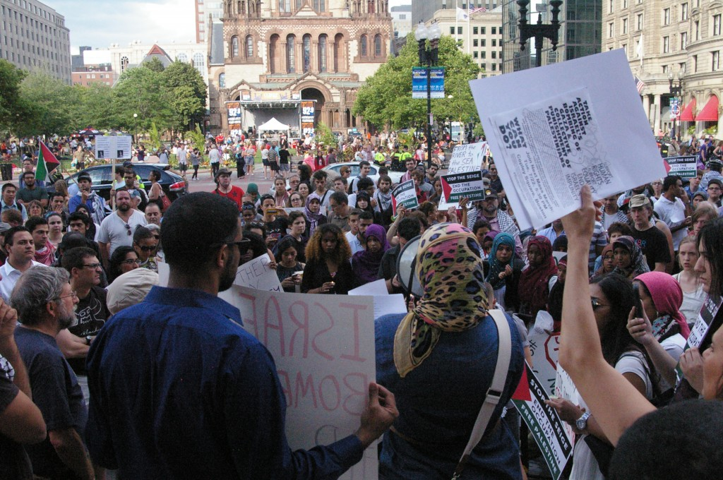 Between 170 and 200 people attended an anti-Israel rally organized by Jewish Voice for Peace on July 17, 2014. The rally took place at Copley Square in downtown Boston.