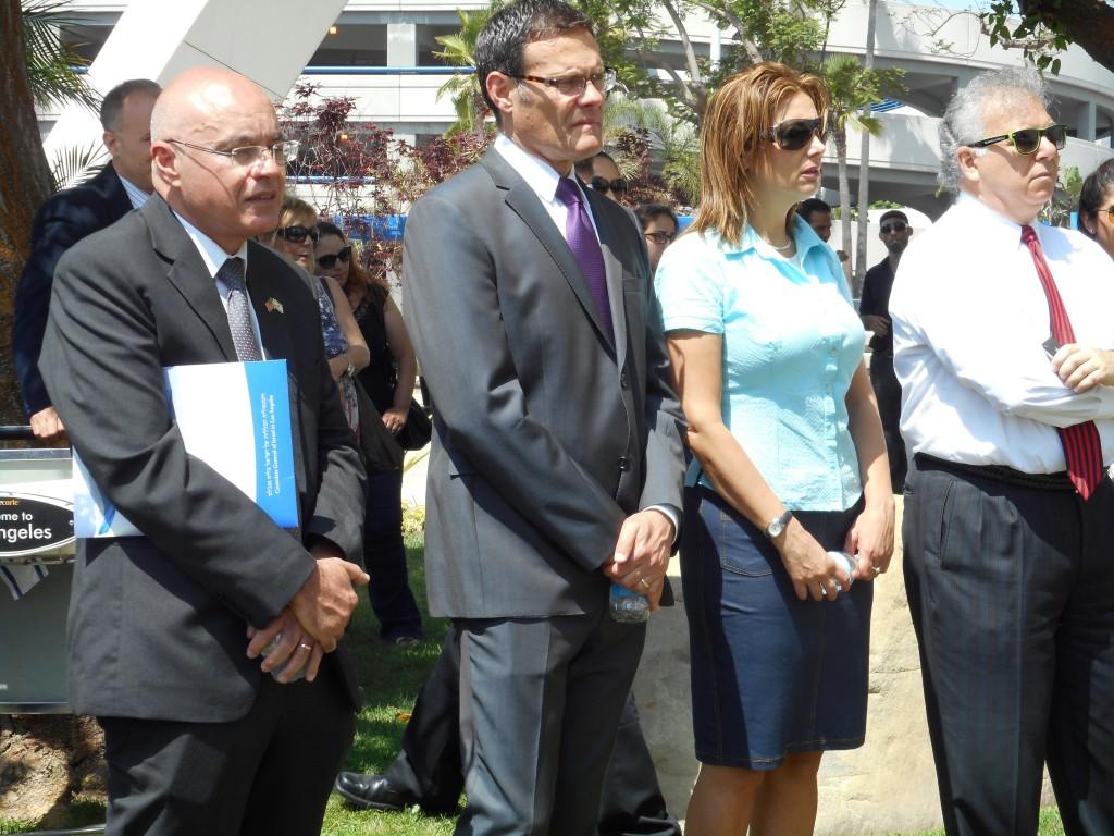 From L-Consul consular Danny Gadot, Israel's Consul General David Segal, Leehy Shaar aunt of murdered Gil-Ad Shaar, Daryl Temkin