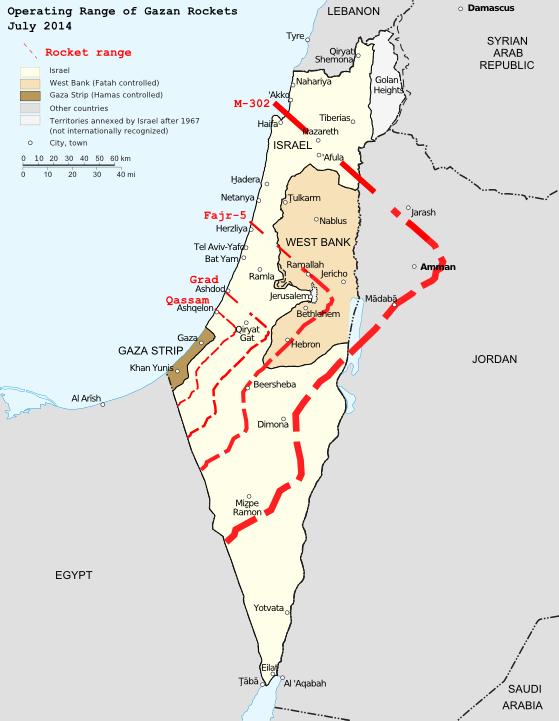 Hamas' expanded rocket range