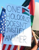 Poster held at Gaza Protest in Los Angeles