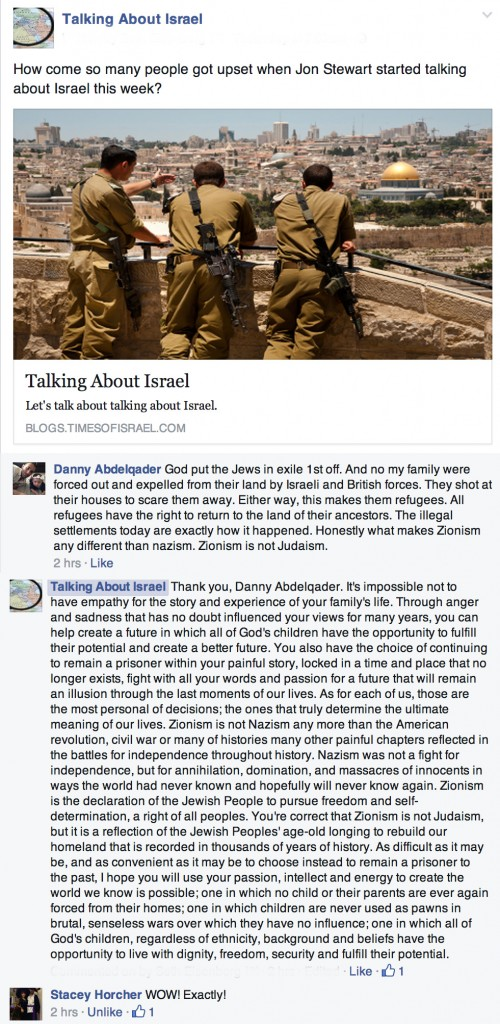 Talking Israel Facebook page Comments