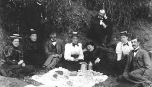 Civilians picnicing in preparation for watching the battle of Bull Run