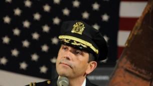 Police Chaplain Rabbi Rigoberto Vinas speaks at Yonkers 9/11 Memorial