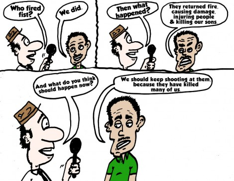 Aug 19, 2014 editorial cartoon by laughzilla about what supporters of Hamas apparently want